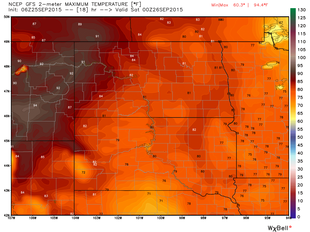 Maximums from GFS for Friday, September 25, 2015