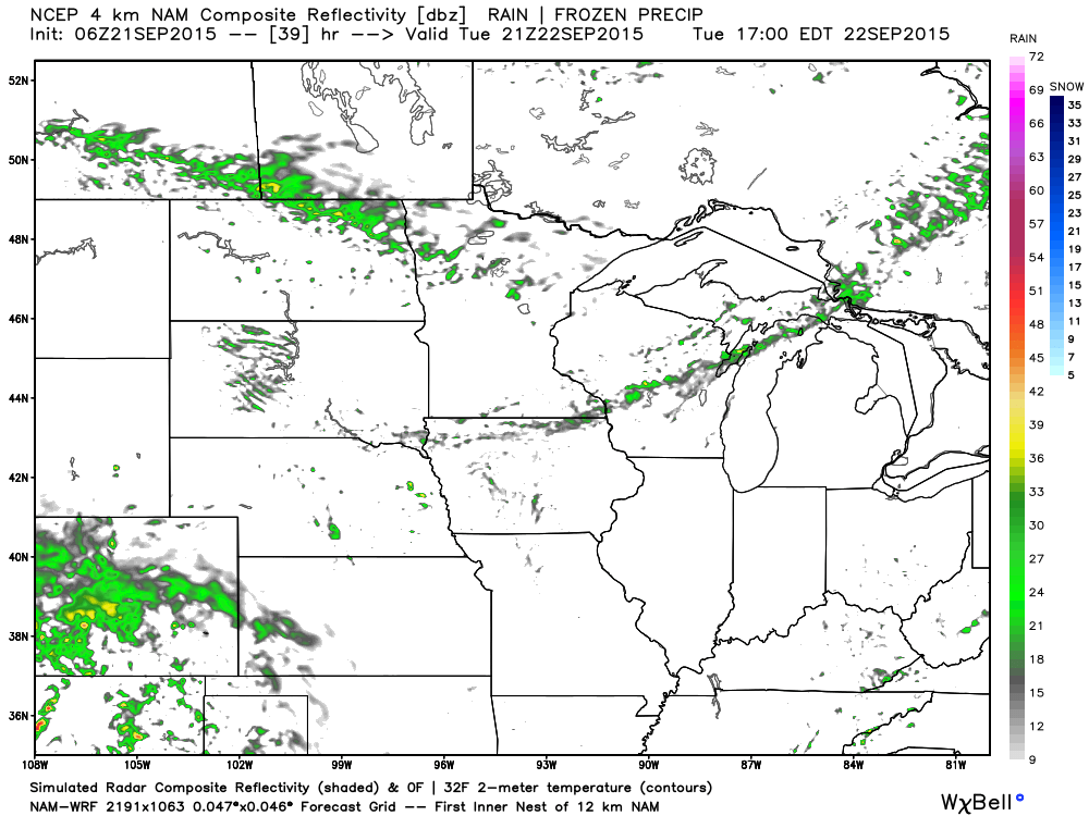 Simulated Radar Returns for Tuesday, September 22, 2015 at 4 PM CDT