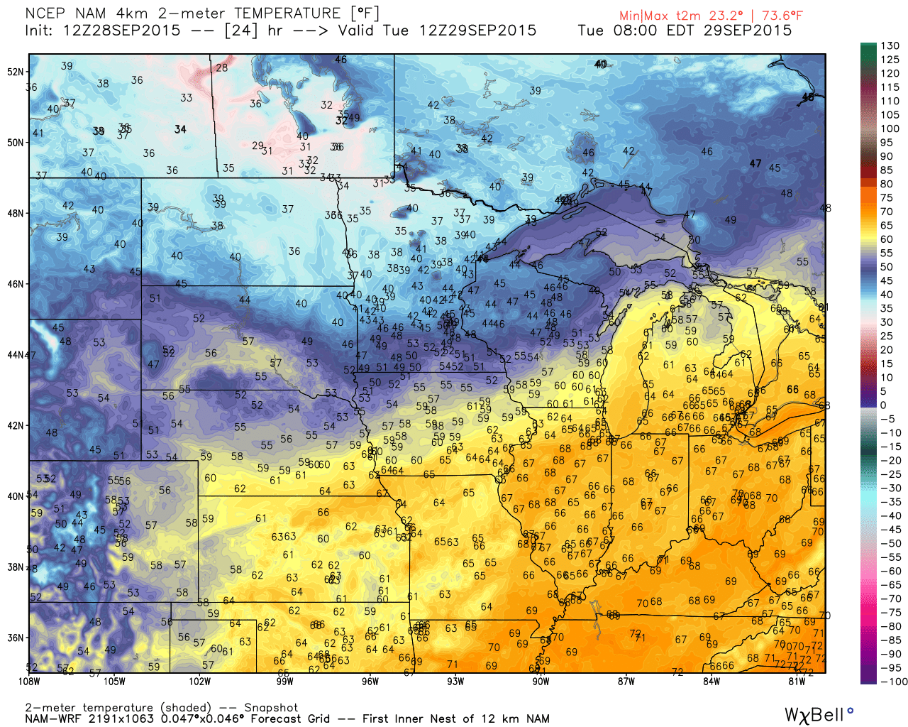 Tuesday AM 7 AM temperature projections