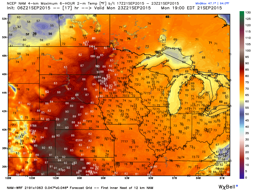 NAM-WRF Simulated Maximums for Monday September 21, 2015