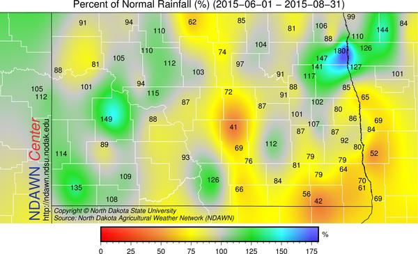 percent of average rainfall for  June 1 through August 31 2015