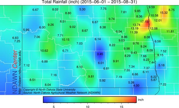 Accumulated Rain Totals June 1 through August 31