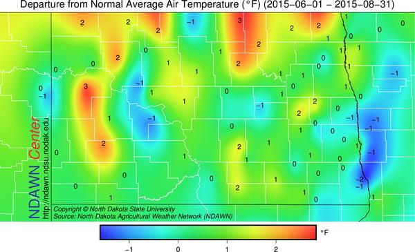 Departure from average temperature  June 1 through August 31 2015