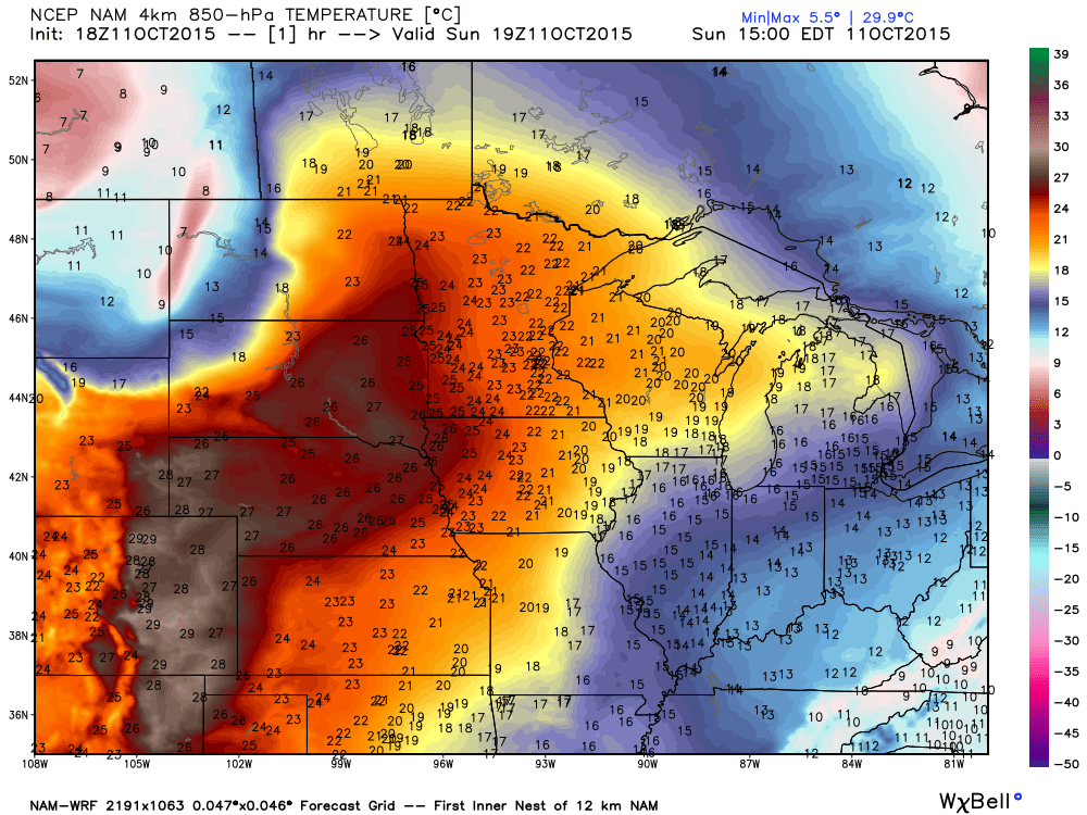 850 mb temperatures at 19Z (2 PM) Sunday, October 11, 2015