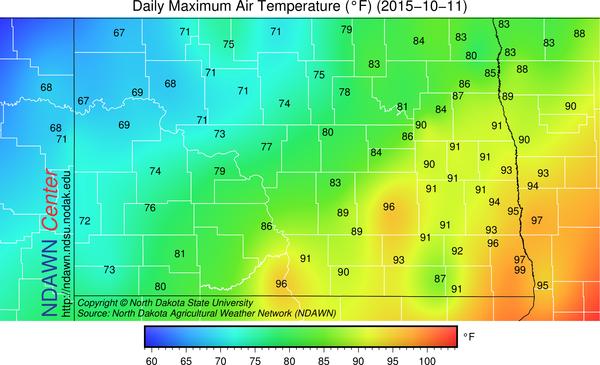 October 11, 2015 Maximum Temperatures at the NDAWN mesonet stations.