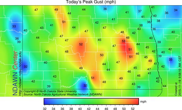 November 19, 2015 Maximum Wind speeds through 10:00 AM