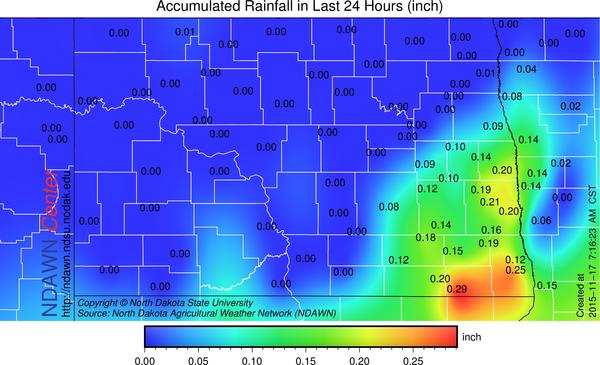 24 hour rain through 7:15 AM, Tuesday, November 17, 2015
