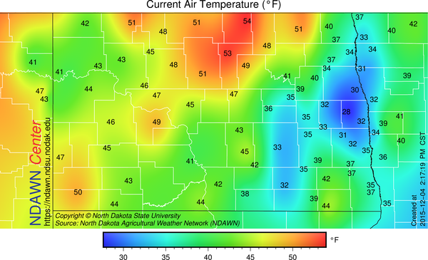 Temperatures at 2:15 PM on December 4, 2015
