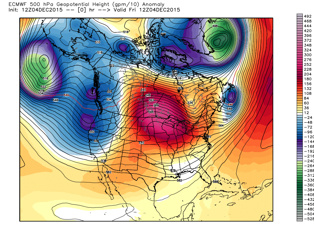 Friday 6:00 AM 500 mb flow and height anomalies from Average.