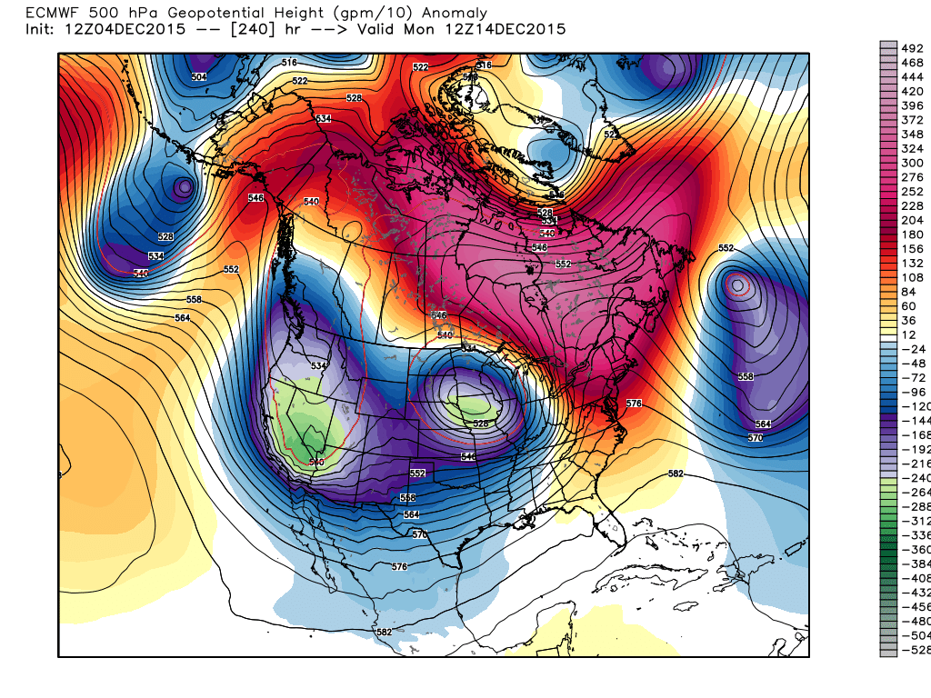 Monday, December 14, 2015 6:00 am 500 mb flow and height anomalies Projection