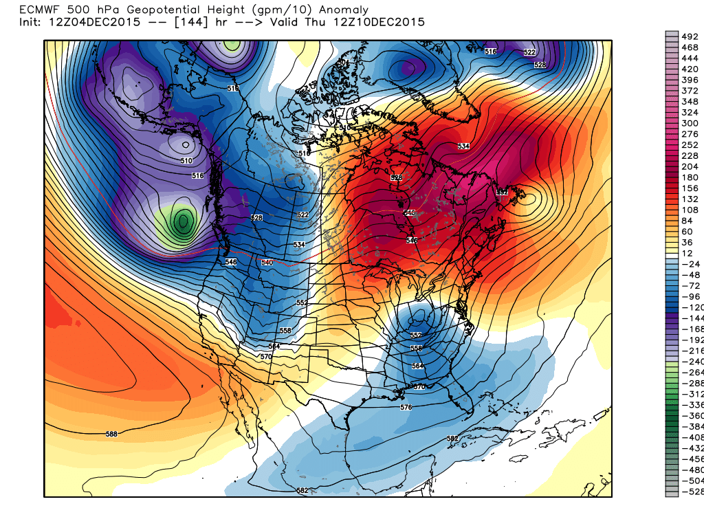 Thursday, December 10, 2015 6:00 500 mb flow and height anomalies Projection