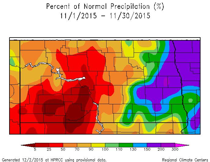 Percent of Normal Precipitation for November 2015