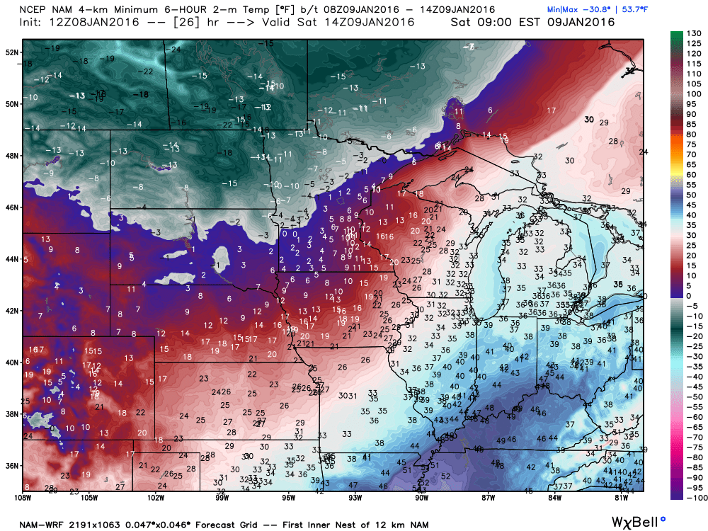 Saturday Minimums from the WRF-NAM Guidance
