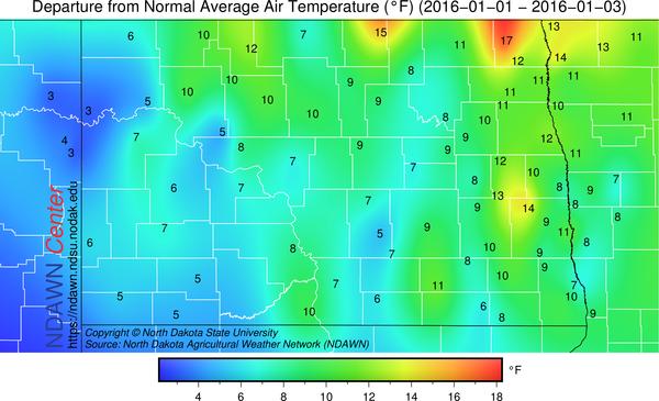January 1-3 temperature anomalies
