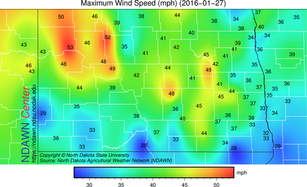 Maximum Wind Gust at NDAWN (North Dakota Agricultural Weather Network) mesonet stations on January 27, 2016