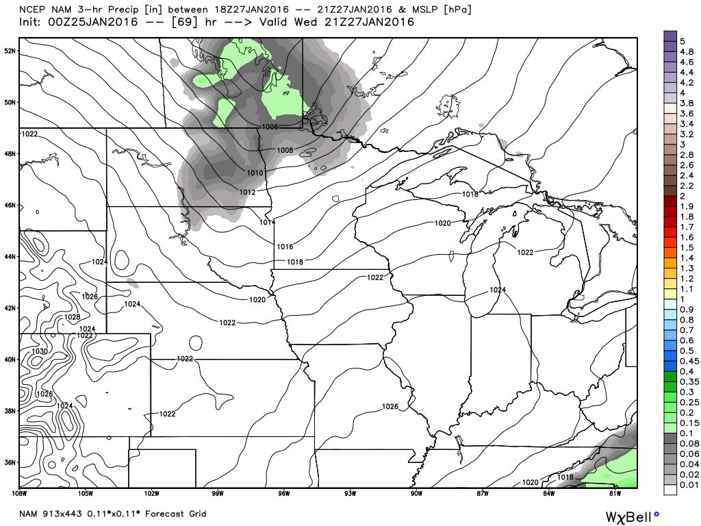 Wednesday, January 27, 2016 3 PM Surface Map and 3 hour precipitation (Liquid Equivalency)
