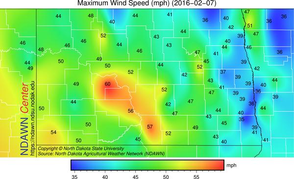 Top Wind Gust February 7, 2016