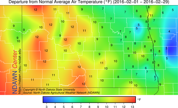 Departure from Average Temperature in February 2016 for North Dakota