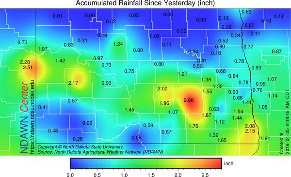 Sunday, April 24, 2016 through Monday, April 25, 2016 at 9:15 AM M Rain Totals