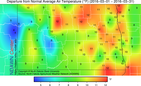 March 2016 Temps