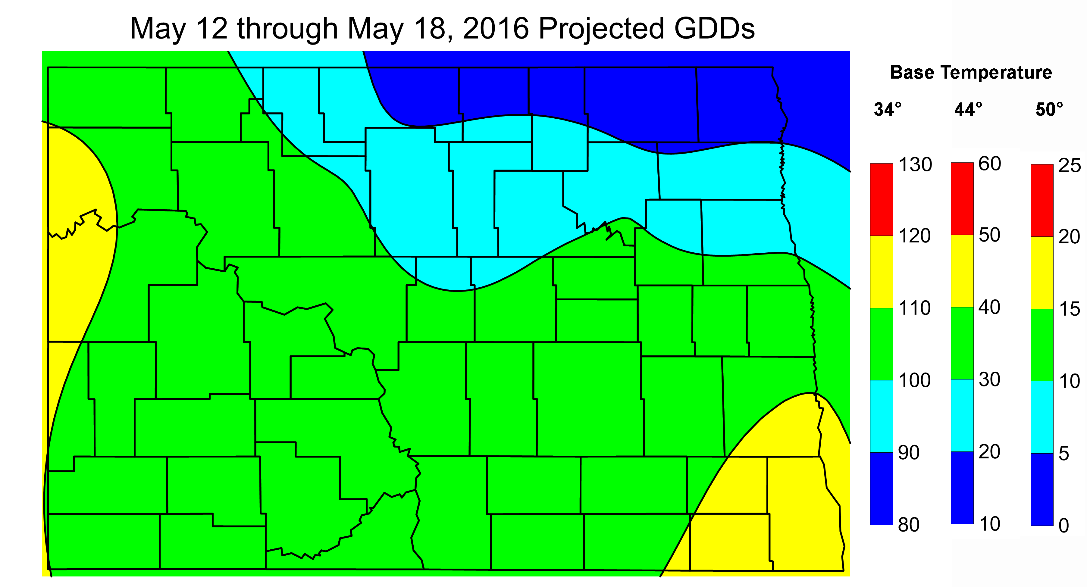 Figure 2. Projected Growing Degree Days from May 12 through May 18, 2016