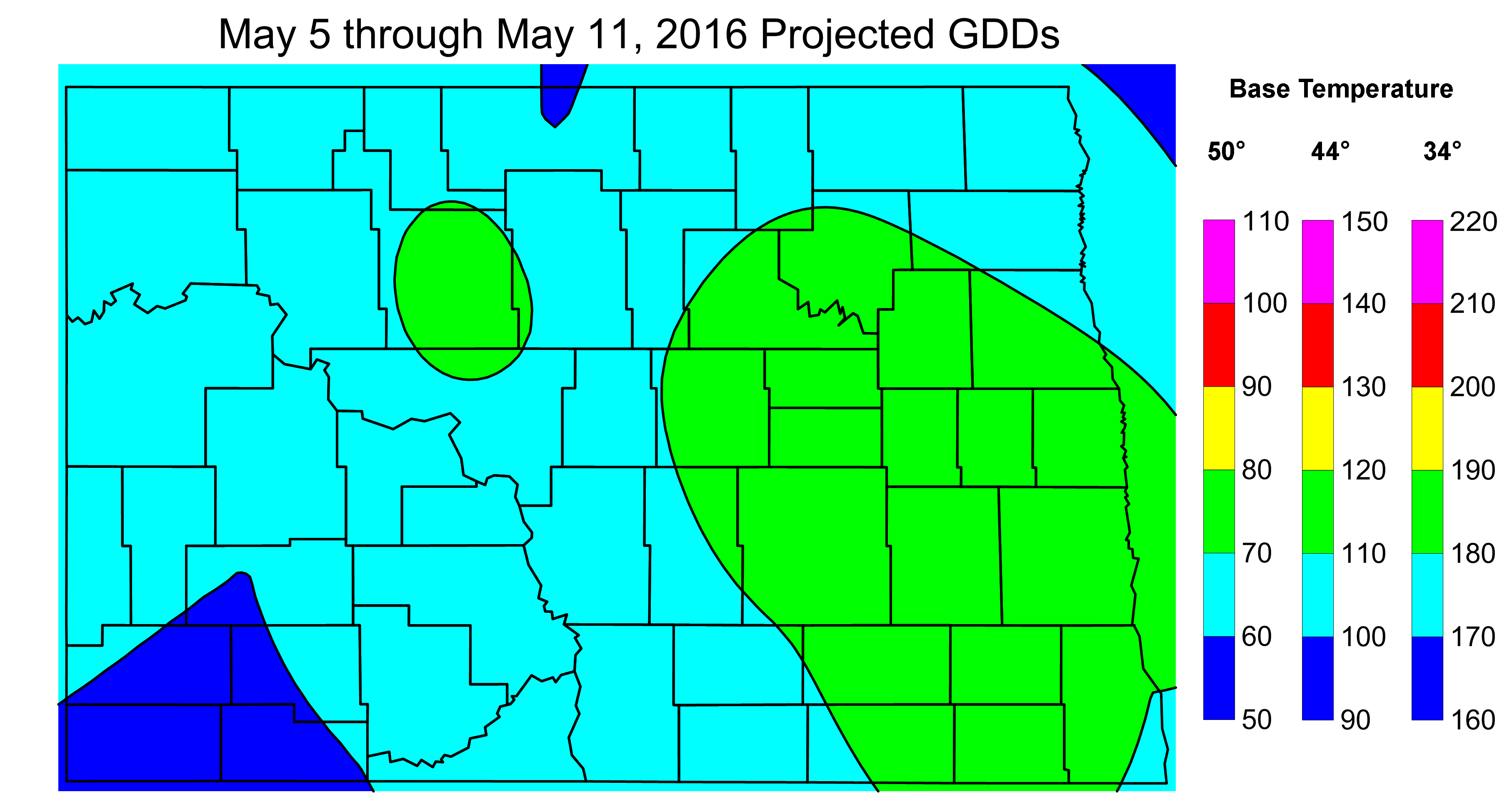 Figure 2. Projected Growing Degree Days from May 5 through May 11, 2016