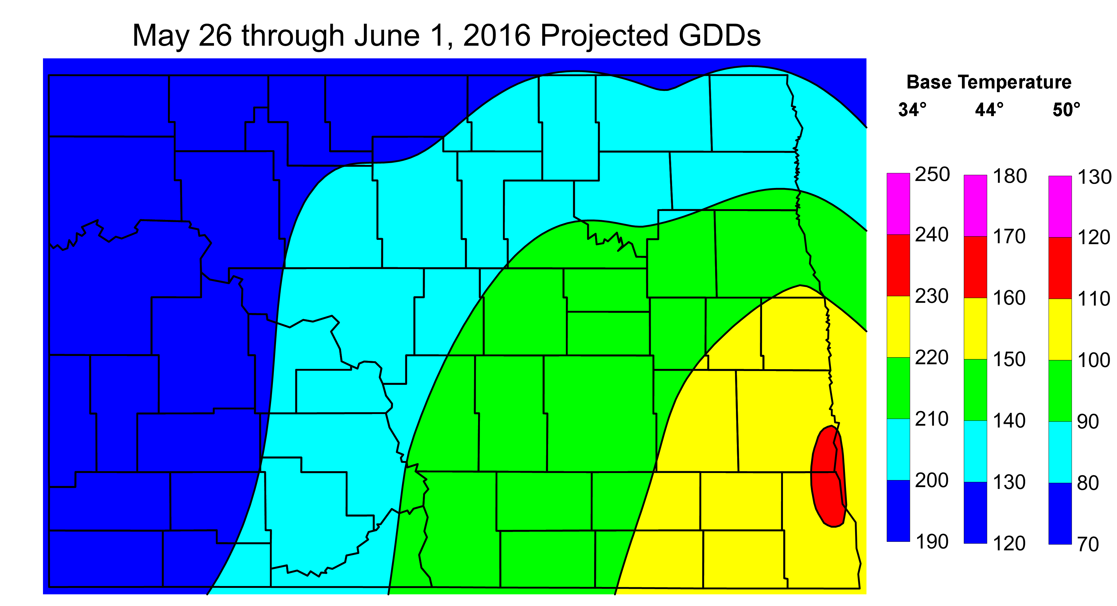Figure 2. Projected Growing Degree Days from May 26 through June 1, 2016