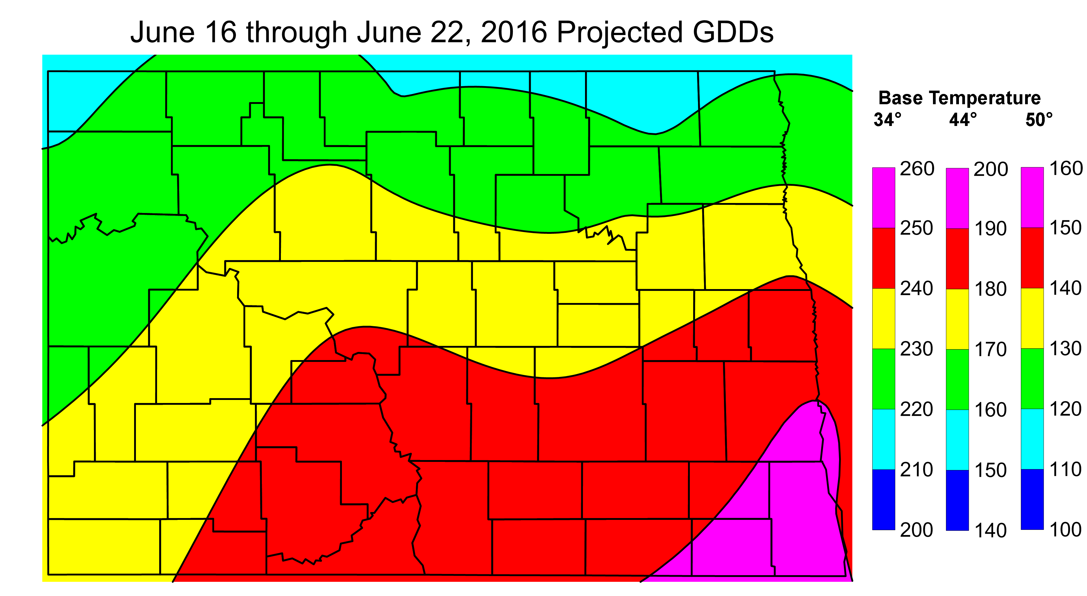 June 16-22, 2016 Estimated GDDs
