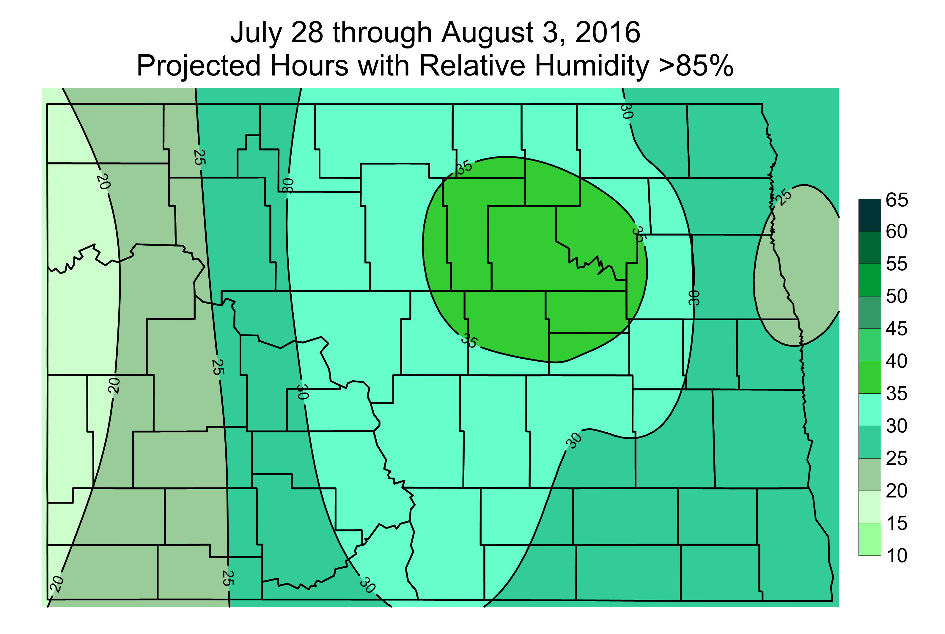 Projected Hours with Relative Humidity above 85% from July 28 through August 3, 2016