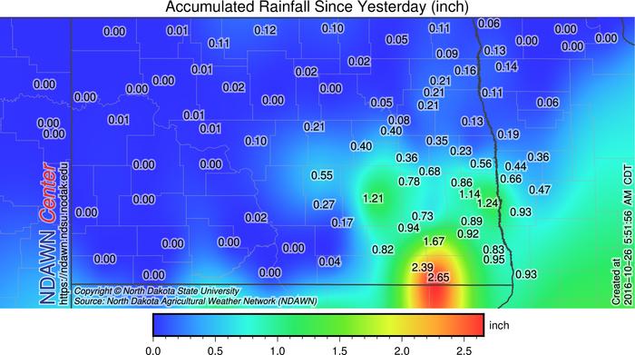 October 25 through October 26 (6:00 AM CDT) Rain Totals
