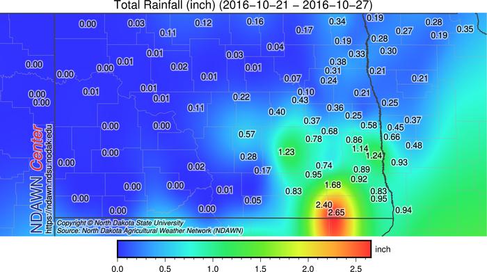 Rainfall from 10/21 through 10/27, 2016