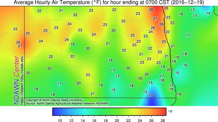 Average temperature 6-7 AM on December 18, 2016