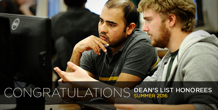Congratulations Dean's List Honorees - Summer 2016