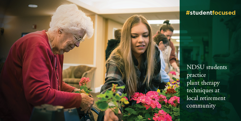 NDSU students practice plant therapy techniques at local retirement community