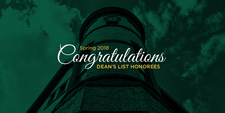 Congratulations Dean's List Honorees - Spring 2018