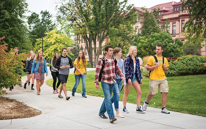 Students walking through campus