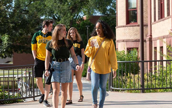 ndsu students walking on campus