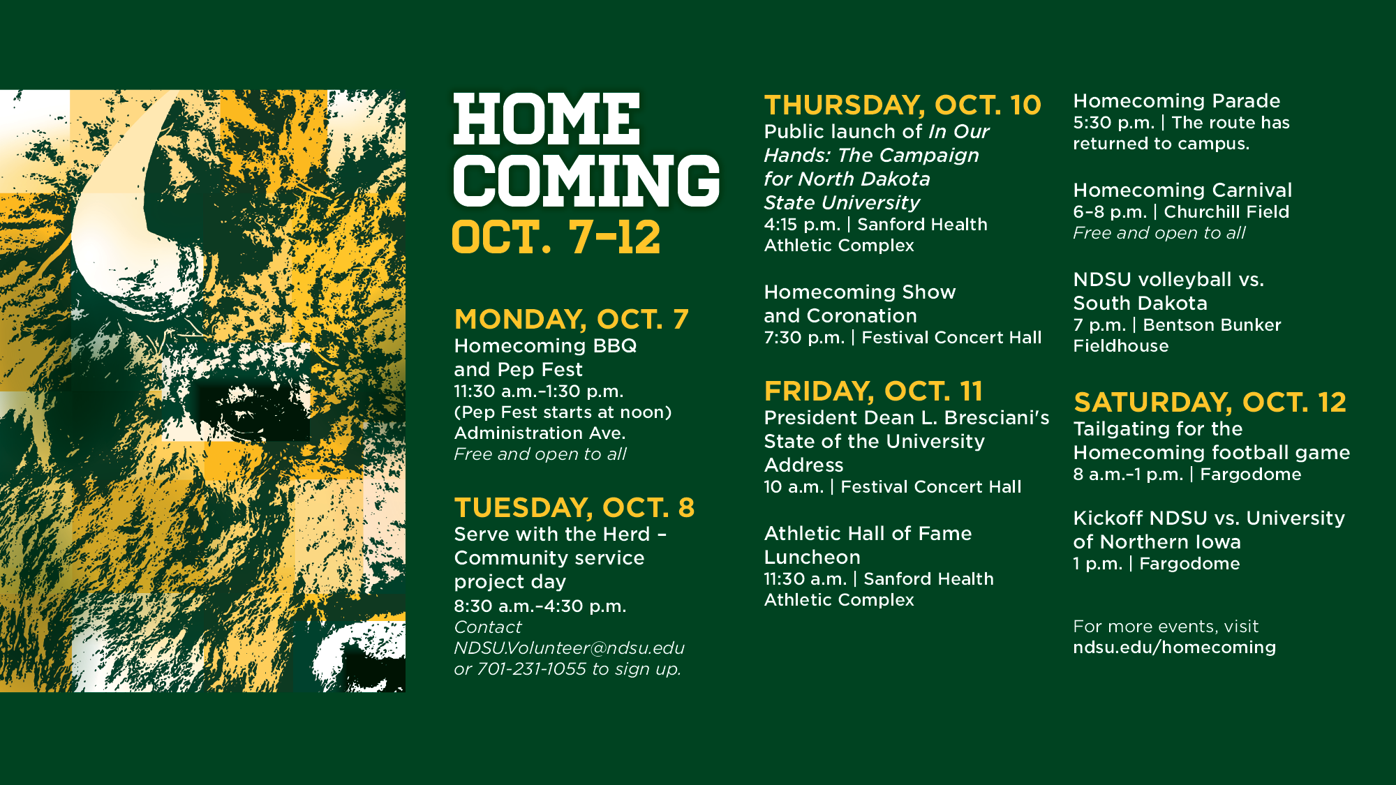 ndsu homecoming 2019 schedule of events