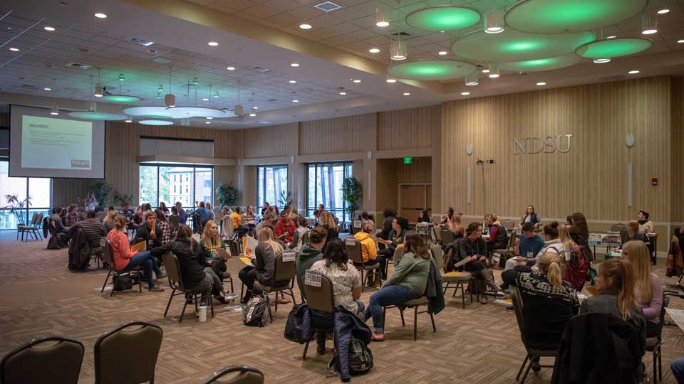 ndsu students participating in a poverty simulation